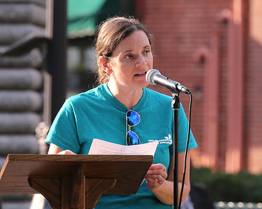 Lena Southworth with the Butler County Suicide Coalition speaks at the groups Suicide Awareness Month rally Wednesday at Butler's Diamond Park. Southworth shared positive memories of her Uncle Gary who fell victim to depression and suicide. Seb Foltz/Butler Eagle 09/09/20