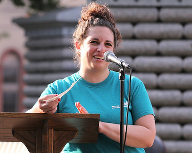 Amy Cirelli with the Butler County Suicide Coalition presents at the groups suicide awareness rally in Butler's Diamond Park. Seb Foltz/Butler Eagle 09/09/20