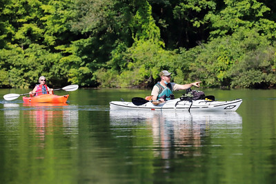 Moraine State Park DCNR environmental education specialist Mike Shaffer leads a kayak tour of one of Lake Aurthur's inlets Wednesday. Seb Foltz/Butler Eagle  09/09/20