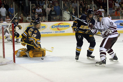 November 5th 2004.  Umass's 6th goal of the night on the way to an 8-2 win over Merrimack.  Jeff Lang is the player credited with the goal, the shot deflected of the pour defenders skate.
