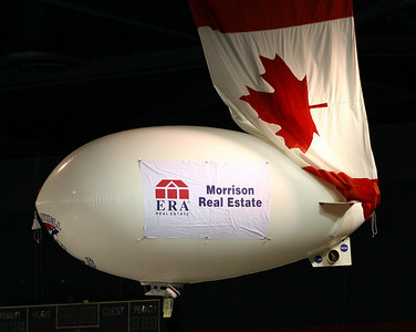 A terroist act against canda, the blimp tried to take the flag out!!! or the blimp driver wasnt payign attention.