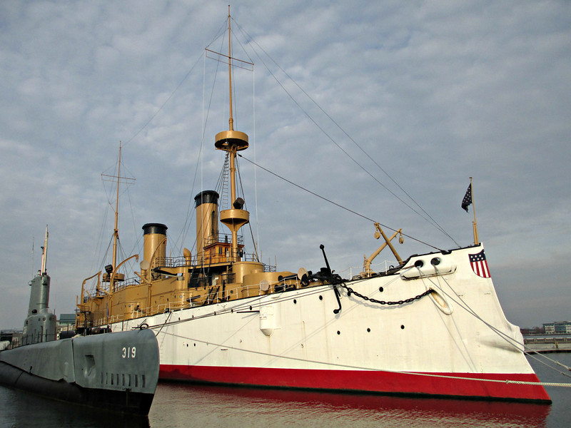 """Another view of the USS Olympia"" - Daily Photo - 01/10/13<br /> <br /> If you look closely, especially on the white painted sides of the ship, you can see the rust and the wear showing."