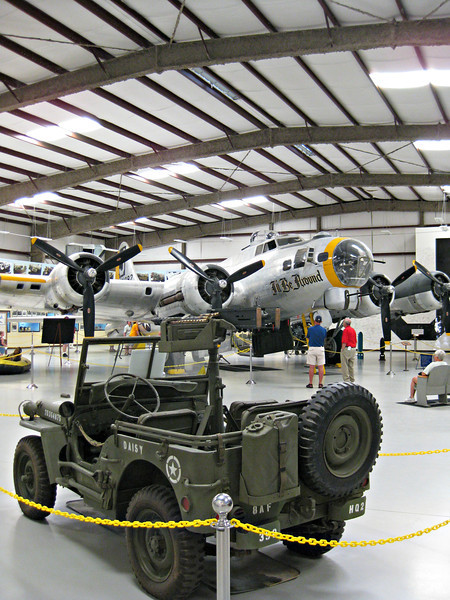 """""""I'll Be Around: B-17G, Pima, Arizona"""" - Daily Photo - 05/09/13<br /> <br /> Had a request to include some narrative and any excuse to post a warplane and I'm on it!<br /> <br /> Not a glamorous story according to Michael Benolkin at <a href=""""http://www.cybermodeler.com/special/restoration.shtml"""">http://www.cybermodeler.com/special/restoration.shtml</a> <br /> <br /> """"Our B-17 had an interesting life. It was a Lockheed-Vega-built B-17G that was delivered to the US Coast Guard for submarine hunting and air rescue duties. It had never seen combat in Europe or the Pacific. In place of the chin turret, our aircraft once had a radome to perform its search mission. Since the aircraft lived by the ocean, bare metal was out of the question.The Coast Guard applied coats of white paint to keep the corrosion under control. When the aircraft was retired from military service, she eventually found her way to dropping Borate on forest fires. Slurry tanks had been installed in the bomb bays. The fire fighting crews kept up the tradition of corrosion control – more white paint ...  As we spoke to several of these crewmen, we discovered the fate of the original """"I'll Be Around"""". The aircraft was enroute back to Framlingham after a combat mission and over the English Channel. One of the crewmen had removed the protective cover off of the very hotchin turret to safe the guns. Somehow a parachute dropped into the turret and caught fire.This in turn caused the 50 caliber rounds to start cooking off and the crew was forced to abandon the aircraft.""""<br /> <br /> Fyi ...<br /> <br /> A radome (the word is a contraction of radar and dome) is a structural, weatherproof enclosure that protects a microwave (e.g. radar) antenna. <br /> <br /> Assuming """"Borate"""" is a component of fire suppression compounds."""