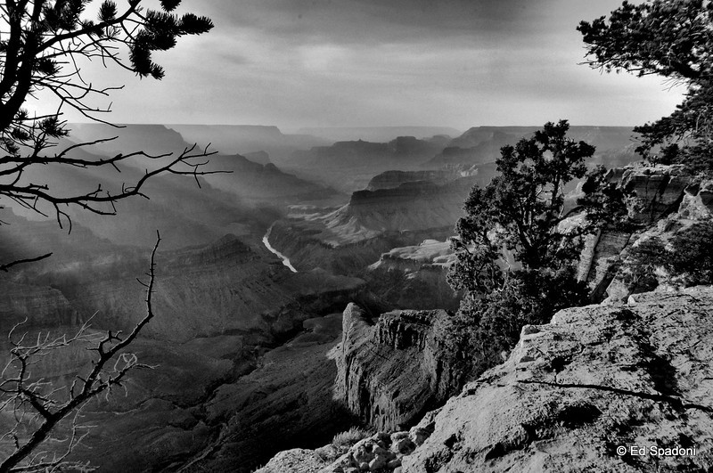 "The Grand Canyon, Ansel style<br /> <br /> If I may be so bold as to try to imitate ""the Master""... This is a three image HDR, converted to B&W with the contrast boosted."