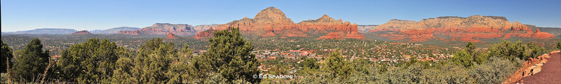 "Sedona Panorama (for Art's Pano Challenge)<br /> 2/28/2011<br /> <br /> This shot, taken from the Sedona Az airport, was made from six individual images, combined in a program called Autostitch.  The beauty of a pano is that the finished product can be enormous with loads of detail.  For example, the full size TIFF version of this image is 57.6MB and allows for incredible discovery via zooming in.  The downside of a file like this is that it can become unwieldy in some programs and if uploading or emailing, downsizing becomes necessary.<br /> <br /> Thanks for the challenge Art!  BTW, check out Art's post on his blog about creating panorama's - very helpful: arthillphoto.wordpress.com.<br /> <br /> For more info on this particular panorama, and a larger version suitable for ""discovery"", please visit our new blog:  <a href=""http://bit.ly/eetgrV"">http://bit.ly/eetgrV</a>"