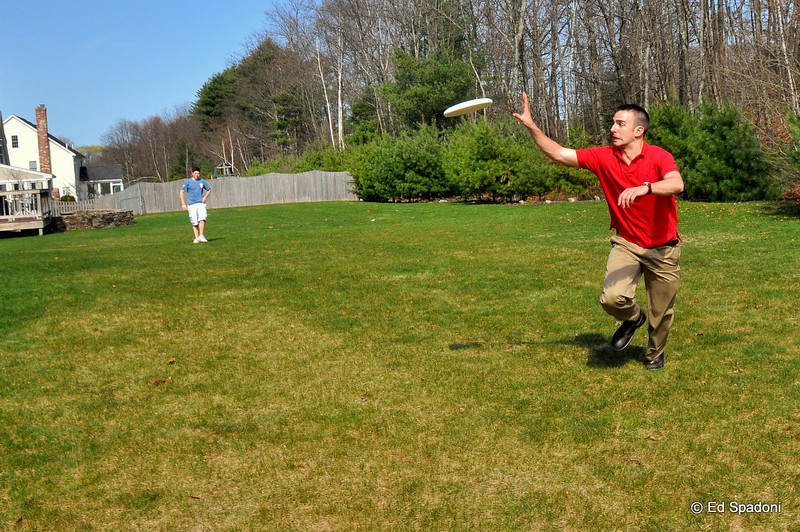 Easter Frisbee action!<br /> 4/5/2010<br /> Pete and cousin Joe tossing the disk after dinner.