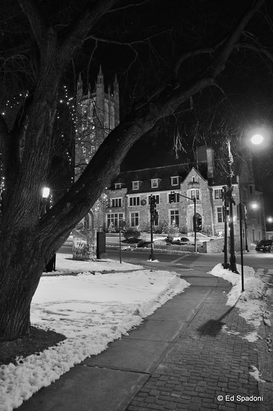 """Another view of our town hall, at night.  Previously seen here   <a href=""""http://bit.ly/7UCCOD"""">http://bit.ly/7UCCOD</a> and here   <a href=""""http://bit.ly/7mUsII"""">http://bit.ly/7mUsII</a>.  An imposing building, I keep thinking """"there's a picture to be made here"""".<br /> 1-14-2010"""