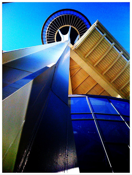 Bottom's up: the Seattle Space Needle from a different angle<br /> 7/8/2010<br /> Arrived in Seattle today for a short business trip.<br /> iPhone 3G