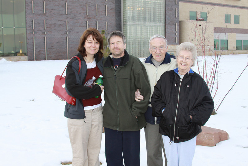 December 31, 2009<br /> <br /> My sister Cathy and her husband Mike with his parents.  I picked this shot to be my last one for 2009.  Wishing Mike the best, he found out this year he has stage 4-colon cancer and will be starting Chemotherapy on January 5th.  Today he had his port put in.  <br /> <br /> This is for you Mike:<br /> <br /> Possibility thinking puts wings and legs on positive ideas.  Optimism is the empowering attitude that unfailingly delivers the energy to....Start....Stay with it......or<br /> bounce back and start over again after disappointments.