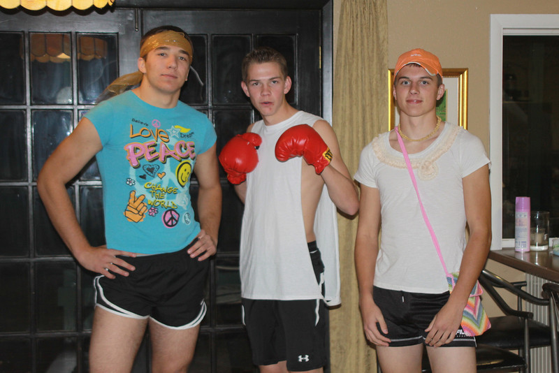 October 29, 2011<br /> <br /> Halloween 2011, Alex and his friends heading to a party- 2 gym sluts and a boxer-nice