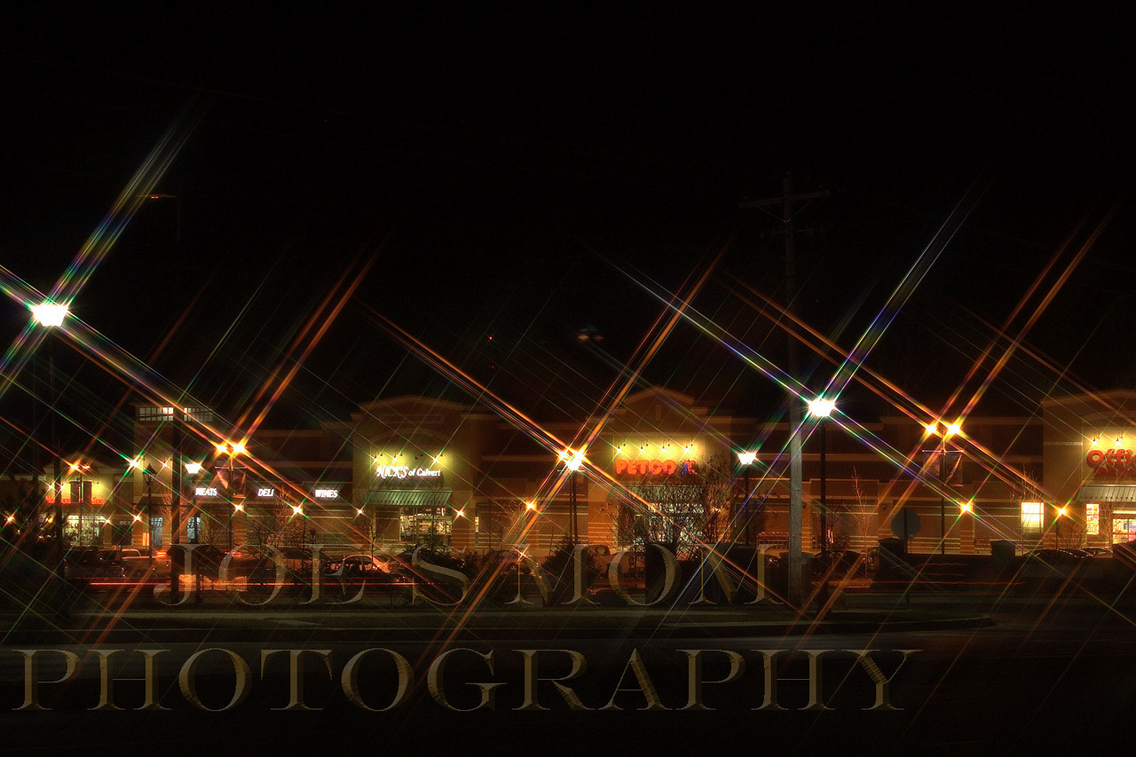 "Strip mall at night...trying out my new ""Cross filter""!"