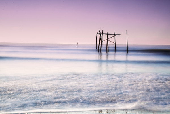 Jan 30 - Ghost Pier<br /> <br /> Remnants of an old pier at Topsail Island, North Carolina.  The pelicans and seagulls love it!   Taken right after sunrise.