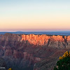 .<br /> Last bit of day's sun hitting a cliff section in Grand Canyon National Park, just before sundown.