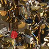 A collection of Love Padlocks found hanging on a gate at Tlaquepaque Arts & Crafts Village in Sedona, Arizona.<br /> <br /> The locked heart-shaped padlocks are engraved with a buyer's personal message as a representation of love between two people; the bond between friends and the solidarity within a family – it is togetherness. Each padlock features a double heart design and is delivered without a key, meaning they lock only once, and once the lock is sealed it is kept sealed forever.