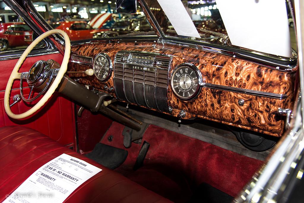 Burled wood dash on a restored 1941 Cadillac,.