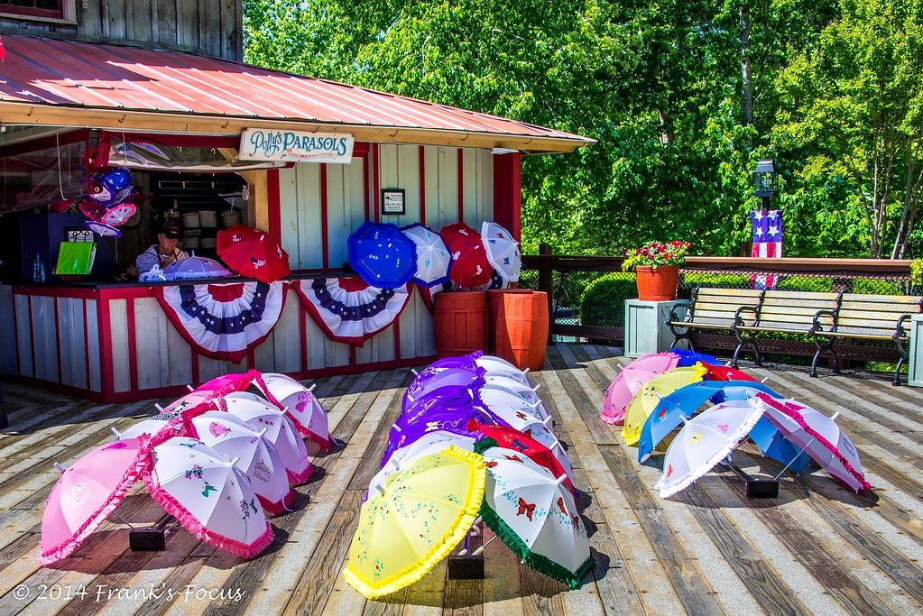 .<br /> Colorful parasols for sale near Branson, Missouri.