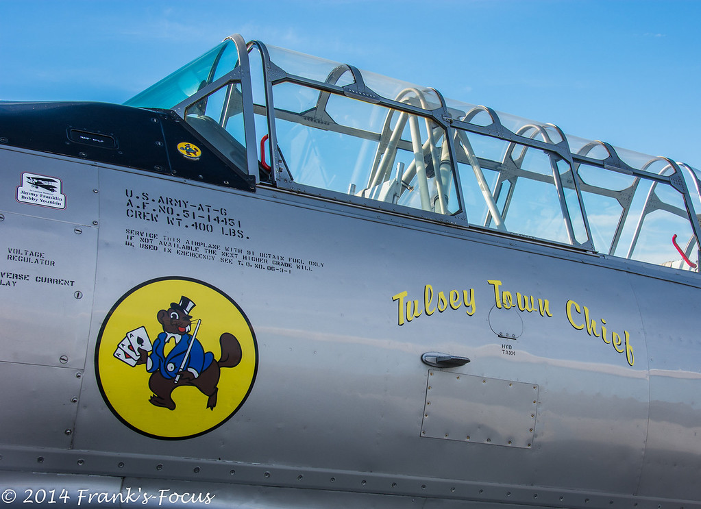 """March 19, 2014 -- Up Close & personal with The Tulsey Town Chief.  This North American T-6 """"Texan"""" is operated by the Oklahoma Air National Guard, and nicknamed """"Tulsey Town Chief"""".  (Tulsey Town being a very old name for Tulsa).<br /> <br /> The T-6 Texan is a single-engine advanced trainer aircraft used to train pilots of U.S. Army Air Forces, U.S. Navy, Royal Air Force and other air forces of the British Commonwealth during World War II and into the 1950s. <br /> <br /> <a href=""""http://franks-focus.smugmug.com"""">http://franks-focus.smugmug.com</a>"""