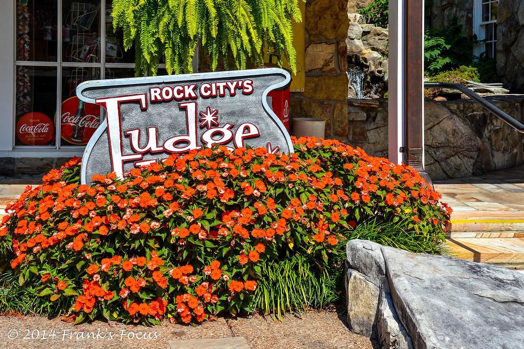 April 3, 2014 -- Fudge Shop sign found at Rock City, near Lookout Mountain, Georgia
