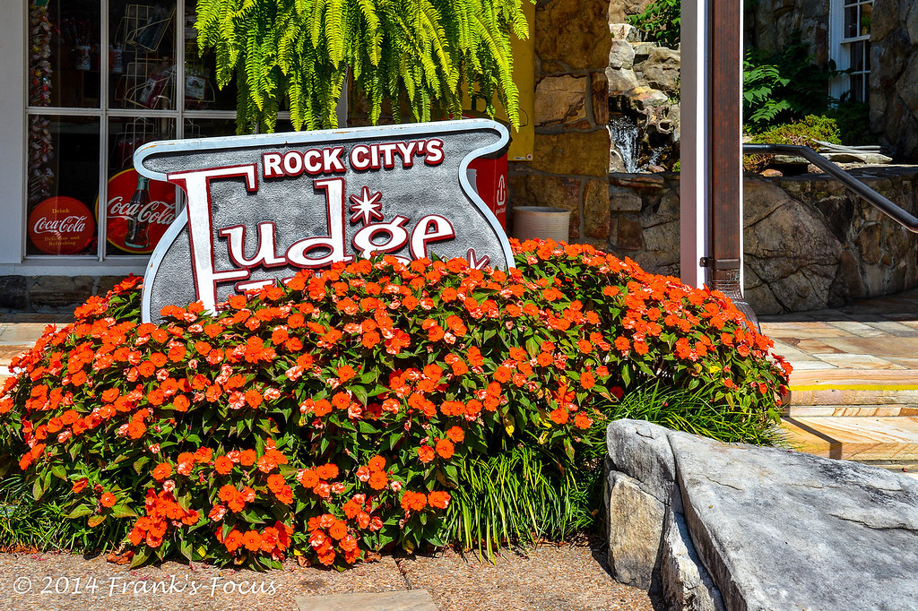 April 3, 2014 -- Fudge Shop sign found at Rock City, near Lookout Mountain, Georgia
