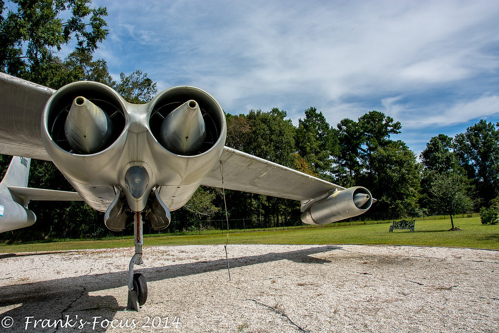 """January 15, 2014 – Boeing B-47 Stratojet Bomber on display at The Mighty Eight Air Force Museum in Pooler, Georgia.<br /> <br /> The Boeing B-47 was the country's first swept-wing multi-engine bomber. It represented a milestone in aviation history and a revolution in aircraft design. Every large jet aircraft today has its origins in the B-47.  The B-47 was designed to fly at high subsonic speeds and at high altitudes to avoid enemy interception.  It's  primary mission was for nuclear weapon deployment on the USSR during the cold war.  While it never saw combat as a bomber, it was a mainstay of SAC's bomber strength during the late 1950s and early 1960s, remaining in use as a bomber until 1965.<br /> <br /> Between 1947 and 1956, a total of 2,032 B-47s in all variants were built. Boeing built 1,373, Douglas Aircraft Co. built 274 and Lockheed Aircraft Corp. built 385.  The final recorded flight of a B-47 was on 17 June 1986, when a B-47E was flown from the Naval Air Weapons Station China Lake, California, to Castle Air Force Base, California, for static display at the Castle Air Museum.<br />  <a href=""""http://franks-focus.smugmug.com/"""">http://franks-focus.smugmug.com/</a> <a href=""""http://franks-focus.smugmug.com"""">http://franks-focus.smugmug.com</a>"""