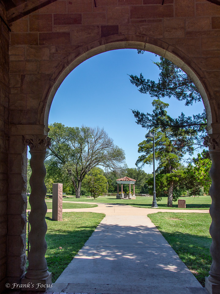"""Gazebo as viewed from groundskeepers cottage at Marland Mansion in Ponca City, Oklahoma.  Exterior of mansion can be viewed here -- <a href=""""http://smu.gs/2aM6OyZ"""">http://smu.gs/2aM6OyZ</a>"""