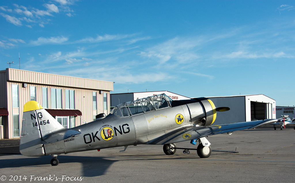"""March 18, 2014 -- The Tulsey Town Chief.  This North American T-6 """"Texan"""" is operated by the Oklahoma Air National Guard, and nicknamed """"Tulsey Town Chief"""".  (Tulsey Town being a very old name for Tulsa).<br /> <br /> The T-6 Texan is a single-engine advanced trainer aircraft used to train pilots of U.S. Army Air Forces, U.S. Navy, Royal Air Force and other air forces of the British Commonwealth during World War II and into the 1950s.  <br /> <br />  <a href=""""http://franks-focus.smugmug.com"""">http://franks-focus.smugmug.com</a>"""