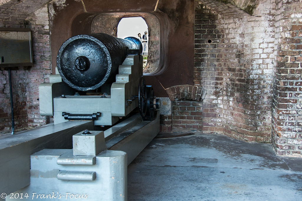 "March 8, 2014 -- A 42-pound cannon stands ready inside Fort Sumter.<br /> <br /> <a href=""http://franks-focus.smugmug.com"">http://franks-focus.smugmug.com</a>"