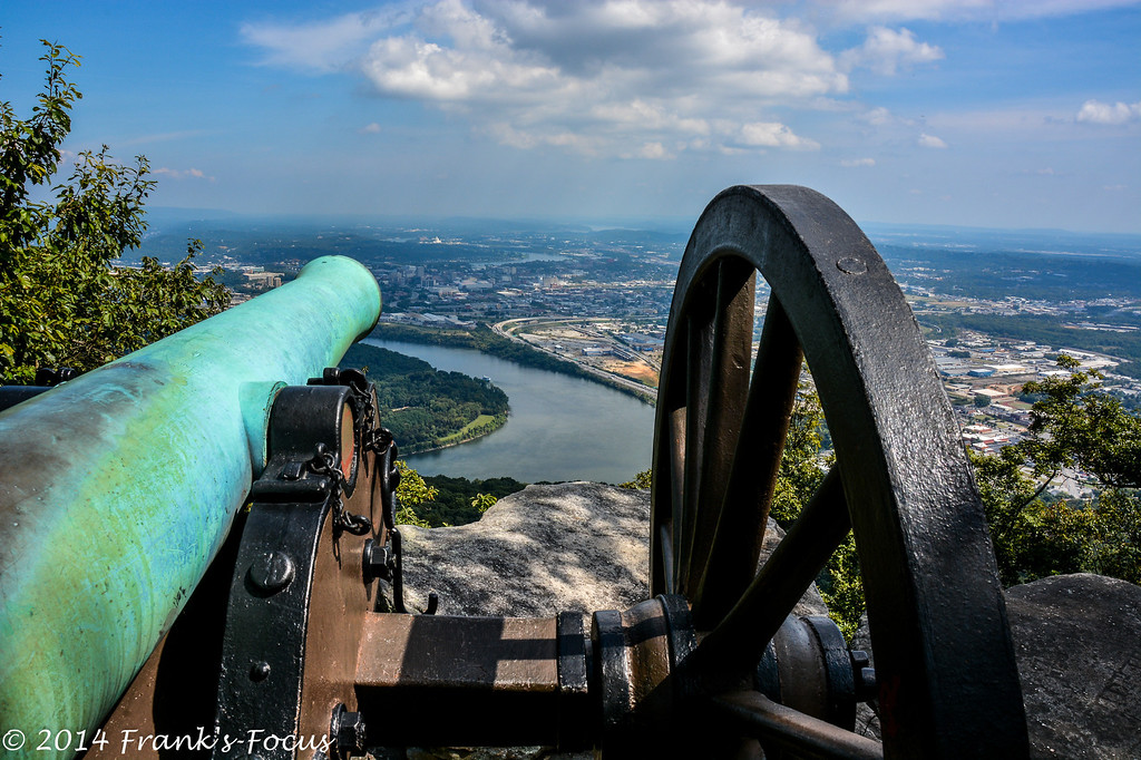 "March 19, 2016 -- A civil war era cannon overlooks Chattanooga, TN from atop Lookout Mountain.<br /> <br /> <a href=""http://franks-focus.smugmug.com"">http://franks-focus.smugmug.com</a>"
