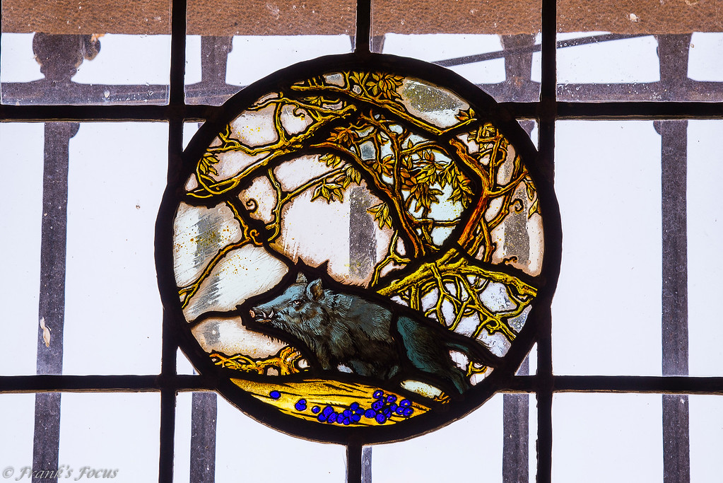 """.<br /> Wild Boar stained glass art piece in Marland Mansion -- <a href=""""http://smu.gs/2aM6OyZ"""">http://smu.gs/2aM6OyZ</a><br /> <br /> Throughout the mansion are many examples of E.W.'s love for hunting and dogs and horses. The imported stained glass windows depict English hunting scenes.  Mr. Marland loved his hounds and had a kennel of hunting dogs he used for fox hunts. His love for his canine friends is evidenced throughout the house and its furnishings.  His chosen décor was intended to accent the comfortable, hunting-lodge feeling in many of the rooms."""