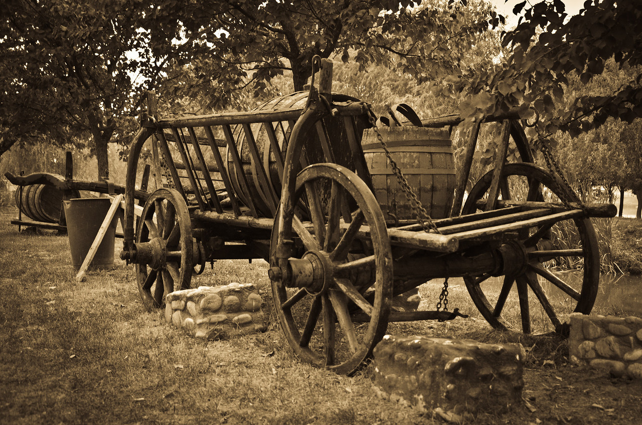 September 5 - Old Wheels  I took this on the way to a BBQ and another game of whist and wasn't expecting anything but actually think its one of my favourite pictures so far. Its the sepia effect that I like so much about this.