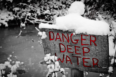 January 22 - More snow  This sign was in front of the smallest pond ever and not sure it could really be that deep...especially when its entirely frozen!