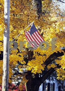 Robert Layman / Staff Photo  An American flag blows in the wind off Main Street in Castleton Tuesday morning.