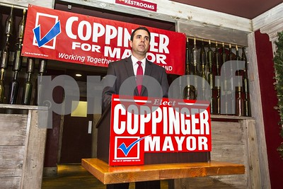 Robert Layman / Staff Photo  Mike Coppinger met with just over a dozen people Wednesday morning at Table 24 in Rutland to announce his candiacy for mayor.
