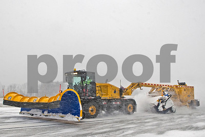 Robert Layman / Staff Photo There's over 5300 feet of runway at  Rutland Southern Vermont Regional Airport and the machine that clears it isn't your average snowplow. Seen here is the Snow Mauler, which was added to the airport's arsenal of snow removal equipment back in Feburary of 2016. Snow that isn't cleared from the twenty-foot plow is brushed of with a sweeper, then a large blower moves the drifting snow so asphalt on the runway can be exposed.