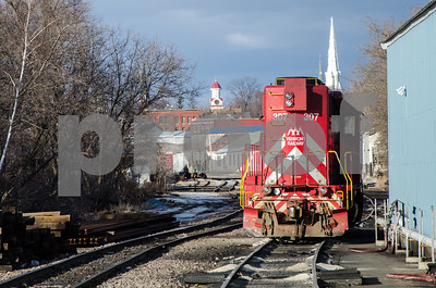 Robert Layman / Staff Photo A locomotive sits stationairy near the Park Street crossing in Rutland Thursday afternoon.