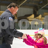 Robert Layman / Staff Photo Chris Greene, School Resource Officer for the Rutland City district helps Northwest Elementary school second grader Lexis Morris around the rink at Giorgetti Arena Wednesday morning. The school wrapped up their six week learn-to-skate Wednesday with help from the city police Department, Rutland City Fire Department and members of the Castleton University hockey team.