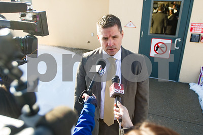 Robert Layman / Staff Photo Major Glenn Hall of the Vermont State Police adresses the press outside the Rutland barracks Thursday regarding the death of Alexandra Rooker.