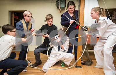 Robert Layman / Staff Photo Cast from the Rutland Youth Theatre rehearse the opening scene of Jack and the Giant Beanstalk at the Rutland Recreation and Parks Department Thursday night. The troupe of 33 youth will perform in the theater at Rutland Intermediate School Friday March 31 at 7pm and Saturady April 1 at 2 and 7pm.