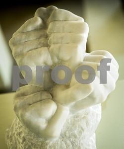 """Robert Layman / Staff Photo Josie Dellenbaugh, """"Hands,""""  West Rutland marble."""