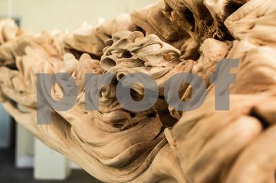 "Robert Layman / Staff Photo Tim Mulherin: ""Untitled,"" birch log carving."