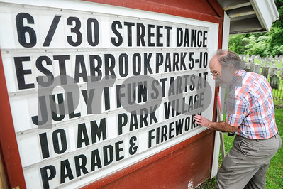 Robert Layman / Staff Photo The town of Brandon has a lot scheduled for July 4th, and Richard Baker is up for the challenge to get it all on the letter board along side Route 7 Tuesday afternoon.