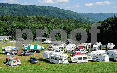 Robert Layman / Staff Photo The site of the Danby Olde Country & Bluegrass festival at Power's Field off of TIfft Road. The festival features long range views of Green Mountain National Forest and multiple levels on the hill for campers.