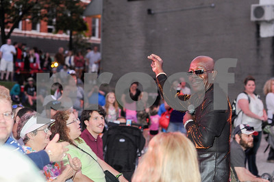 """Robert Layman / Staff Photo Lead singer of The Trammps walks out to greet the crowd as he sings """"Hold Back The Night"""" during the Friday Night Live concert in Rutland."""