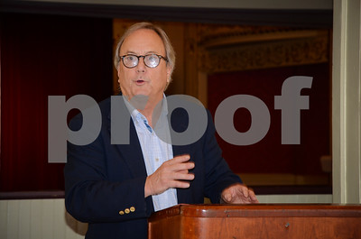 Robert Layman / Staff Photo Paramount Theatre Executive Director Bruce Bouchard gives opening remarks during the reveal of the 2017-2018 schedule in the lobby Friday afternoon.