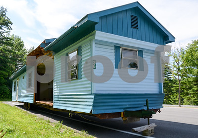 Robert Layman / Staff Photo This blue mobile home is seen parked alongside Route 7 north's parking pull off before the 103 intersection. According to an unattended vehicle check posted by Vermont State Police Trooper Patrick Slaney, the mobile home was cited on July 6, 2017. This photo was taken July 31, 2017.