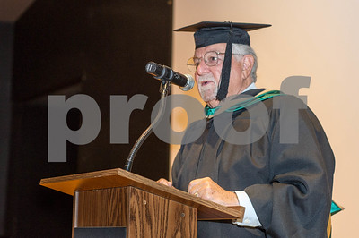 Robert Layman / Staff Photo Larry Jensen, President of the College of St. Joseph,  adresses the crowd at fall convocation Wednesday morning, August 30, 2017.