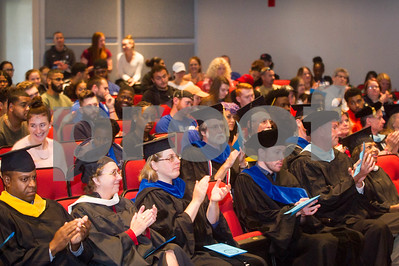 Robert Layman / Staff Photo The audience claps during remarks at the College of St. Joseph fallconvocation ceremony Wednesday, August 30, 2017.