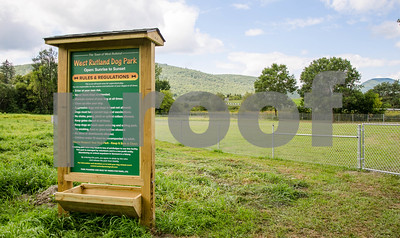 Robert Layman / Staff Photo The West Rutland dog park is nearing completion. Seen here on August 31, 2017, a new sign has been installed and teh fence perimeter is in place. The sign lists rules for the park, which has two sections, one for small dogs and one for large.