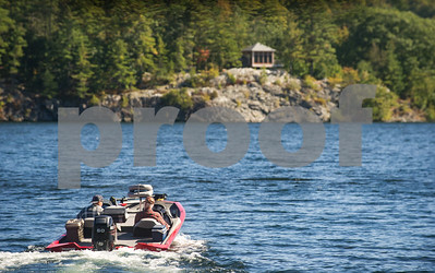 Robert Layman / Staff Photo Two men head out on Lake Bomoseen for an afternoon of fishing Tuesday, October 3, 2017.