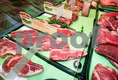 Robert Layman / Staff Photo  Various cuts of red meat inside the Vermont Butcher Shop's new Rutland location. The beef's location is from Pineland Farms, a Maine-based supplier.